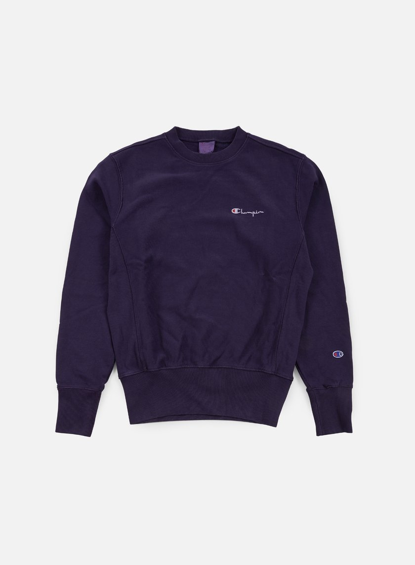 Champion - Reverse Weave Small Script Terry Crewneck, Dark Purple