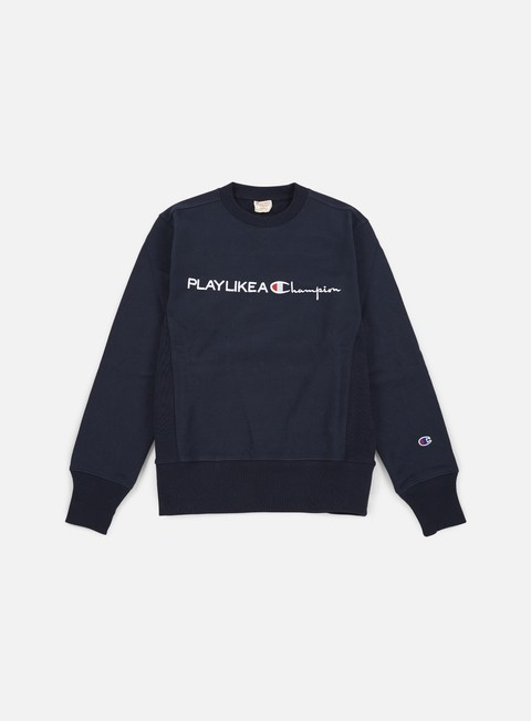 felpe champion reverse weave speak easy crewneck navy