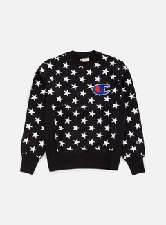 Champion - Reverse Weave Star Terry Crewneck, Black 1