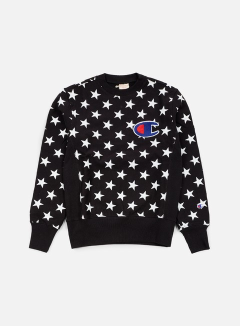 felpe champion reverse weave star terry crewneck black