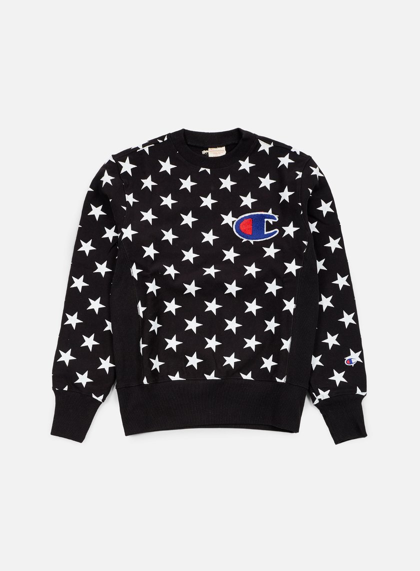 Champion - Reverse Weave Star Terry Crewneck, Black