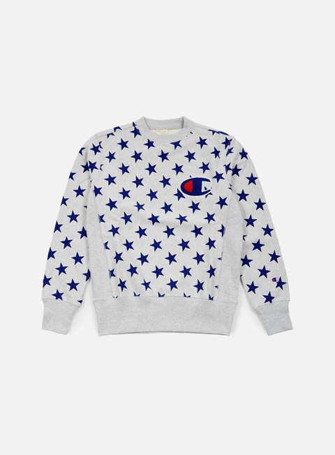 felpe champion reverse weave star terry crewneck heather grey