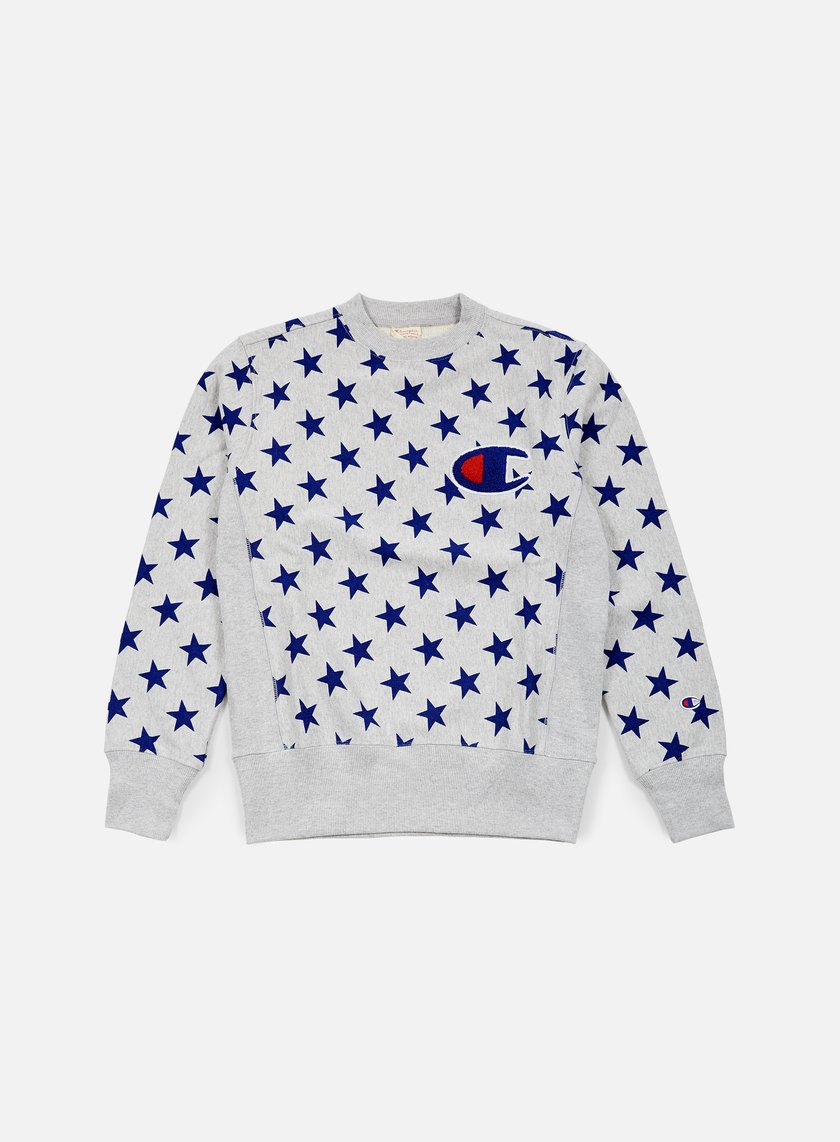 Champion - Reverse Weave Star Terry Crewneck, Heather Grey