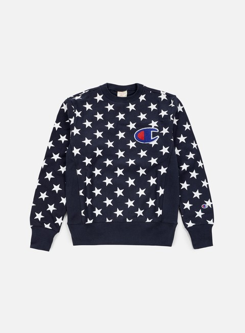 felpe champion reverse weave star terry crewneck navy