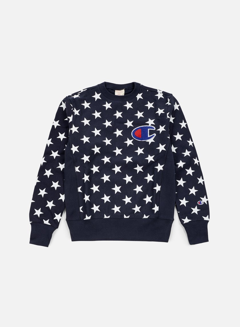 Champion - Reverse Weave Star Terry Crewneck, Navy