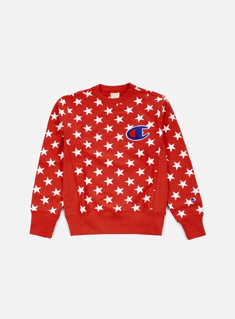 felpe champion reverse weave star terry crewneck red