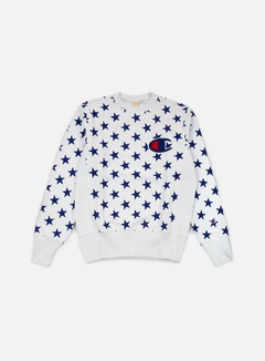 Champion - Reverse Weave Star Terry Crewneck, White