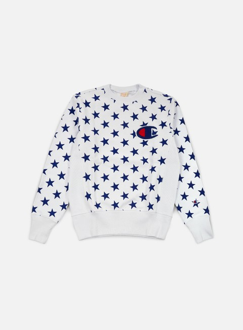 felpe champion reverse weave star terry crewneck white