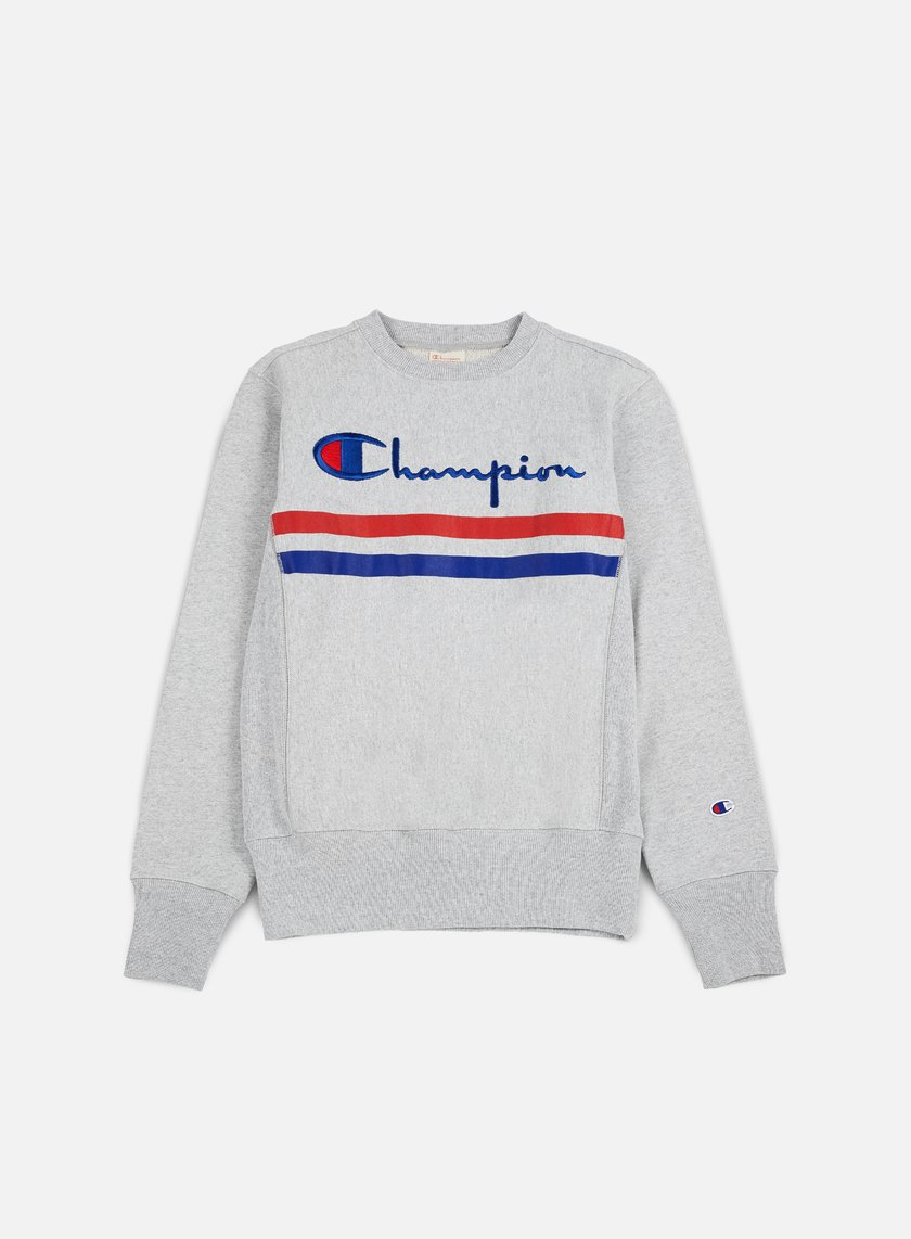 Champion - Reverse Weave Stripe Crewneck, Heather Grey