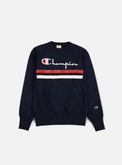 Champion - Reverse Weave Stripe Crewneck, Navy 1