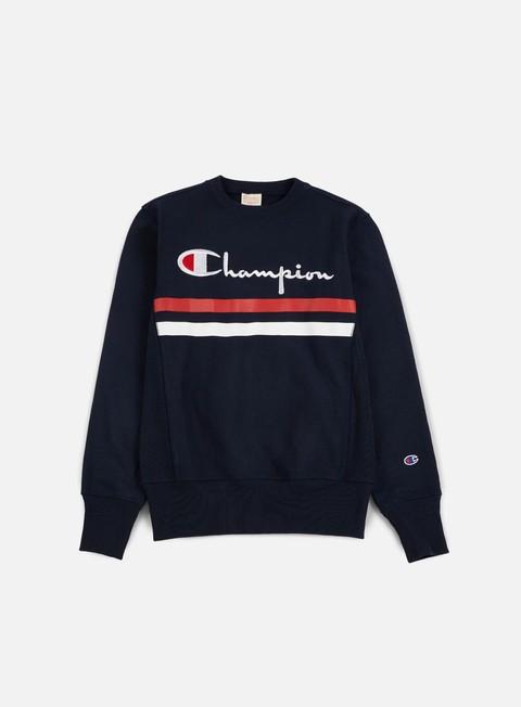 felpe champion reverse weave stripe crewneck navy