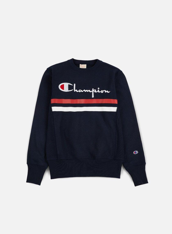 Champion - Reverse Weave Stripe Crewneck, Navy