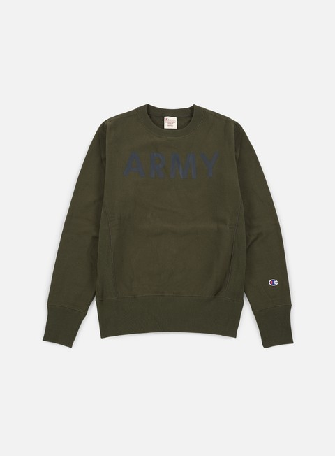 felpe champion reverse weave terry crewneck army army green