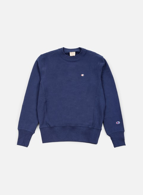 felpe champion reverse weave terry crewneck blue
