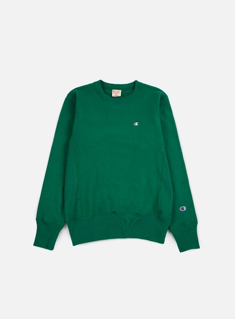 felpe champion reverse weave terry crewneck green