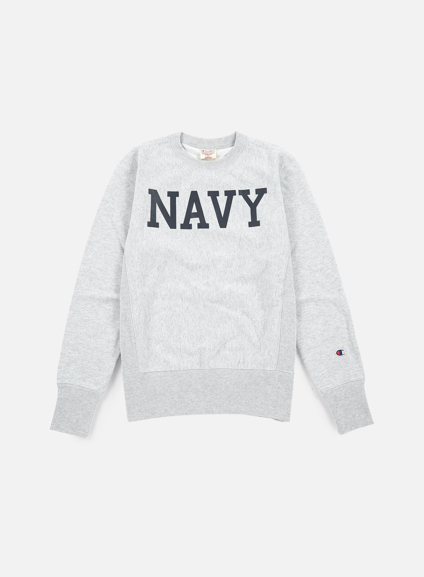 Champion - Reverse Weave Terry Crewneck Navy, Heather Grey