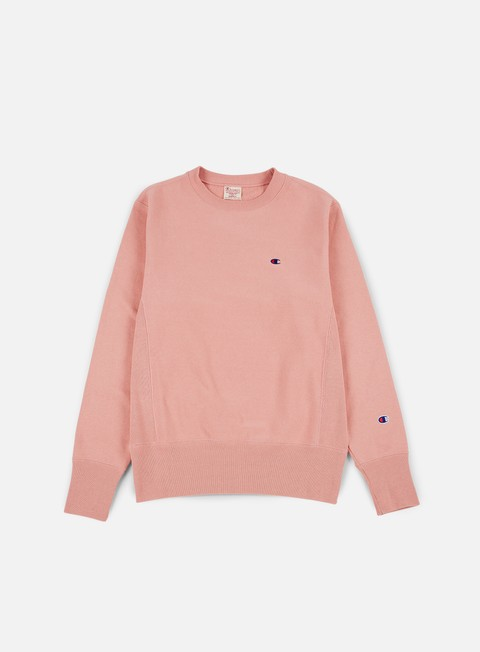felpe champion reverse weave terry crewneck pink