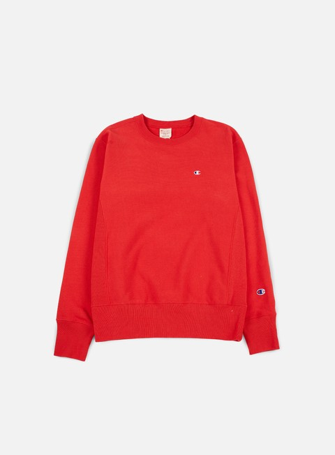 felpe champion reverse weave terry crewneck red