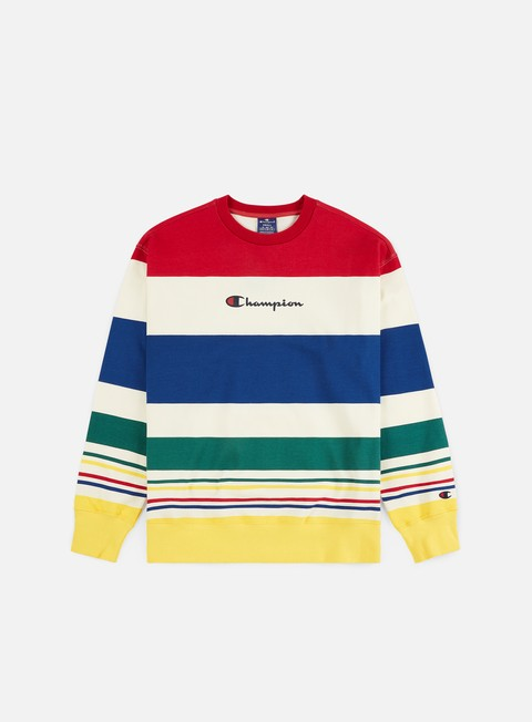 Champion Striped Logo Crewneck