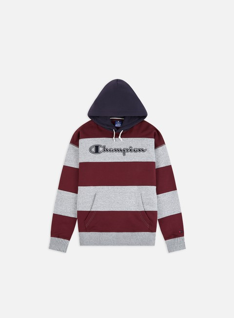 Sale Outlet Hooded Sweatshirts Champion Striped Script Logo Hoodie