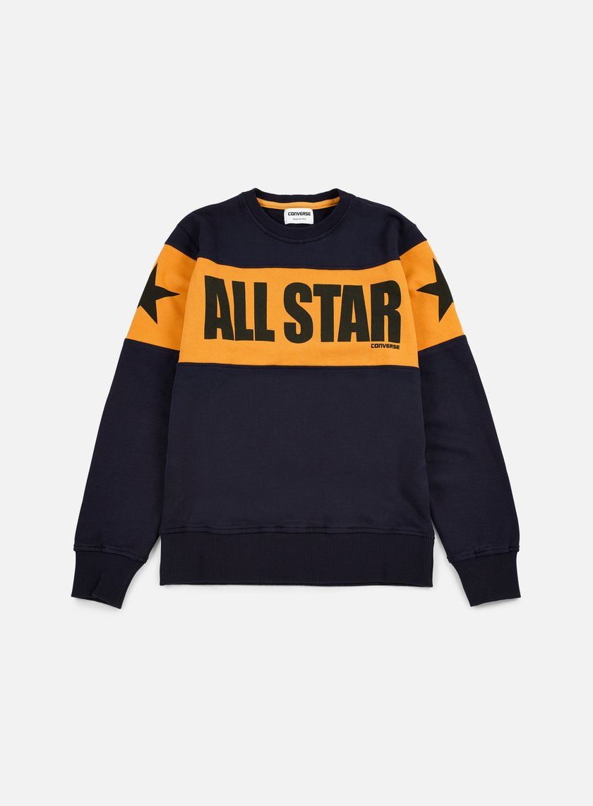 Converse - Chuck Taylor Color Block Crewneck, Navy Blue/Corn Yellow/Black