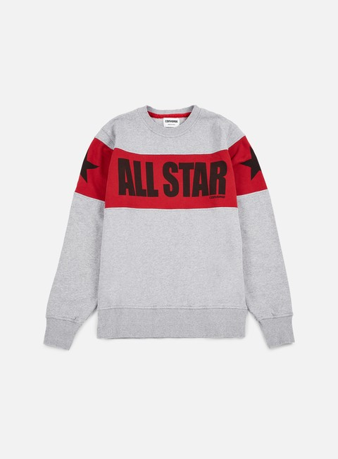 felpe converse chuck taylor color block crewneck very melange red black