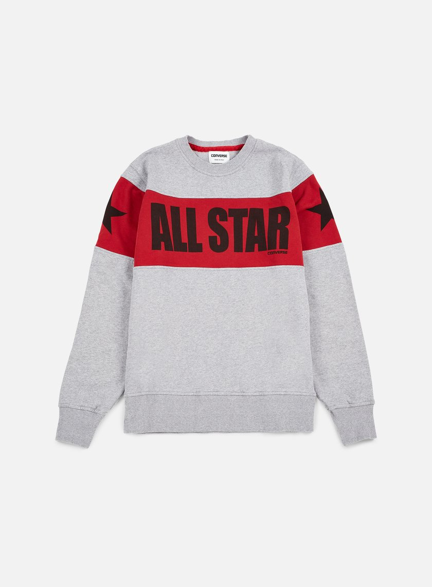 Converse - Chuck Taylor Color Block Crewneck, Very Melange/Red/Black