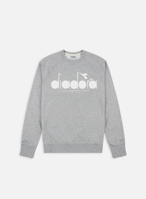 felpe diadora 5 palle crewneck light middle grey melange