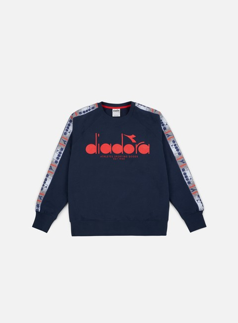 felpe diadora 5palle offside crewneck blue denim optical white tomato