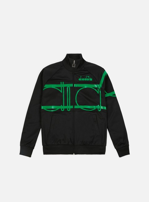 felpe diadora 80s bold jacket black green