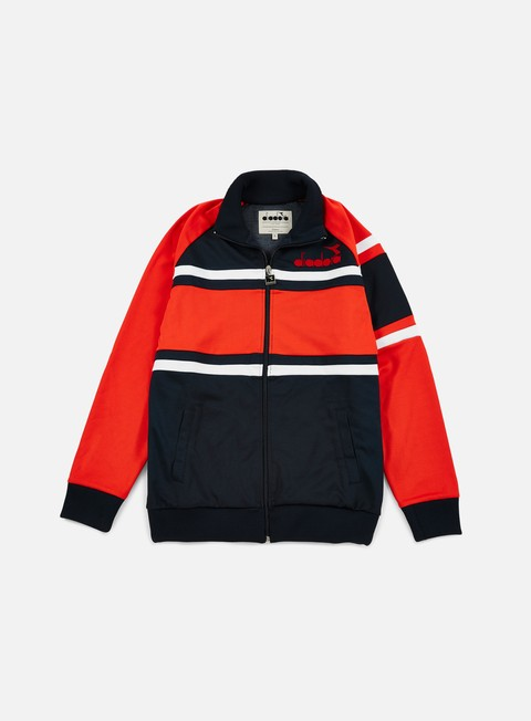 felpe diadora 80s jacket blue caspian sea red