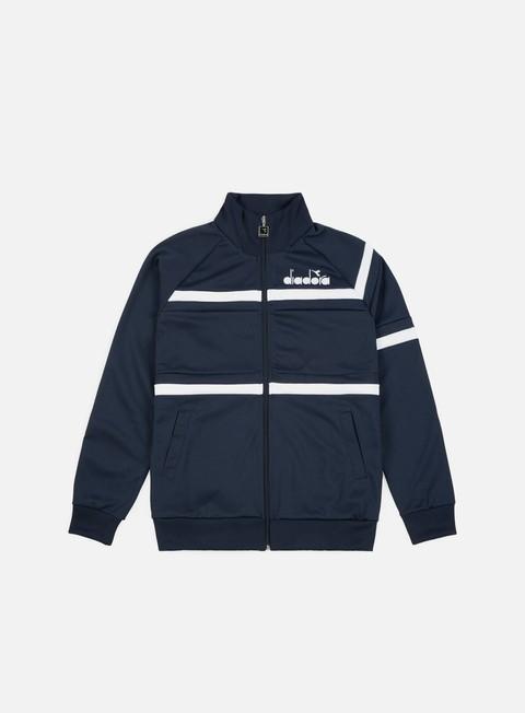 felpe diadora 80s jacket blue denim optical white