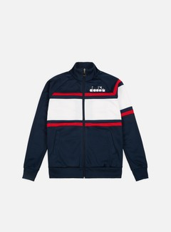 Diadora - 80s Jacket, Blue Denim/Optical White/Tomato