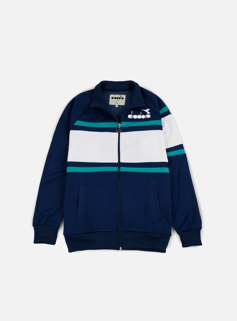 felpe diadora 80s jacket estate blue porcelain green
