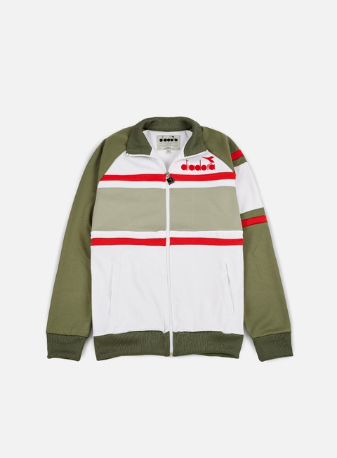 felpe diadora 80s jacket green mushroom white