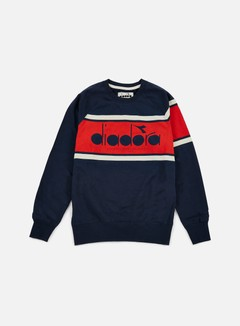Diadora - BL Sweatshirt, Blue Caspian Sea/Red