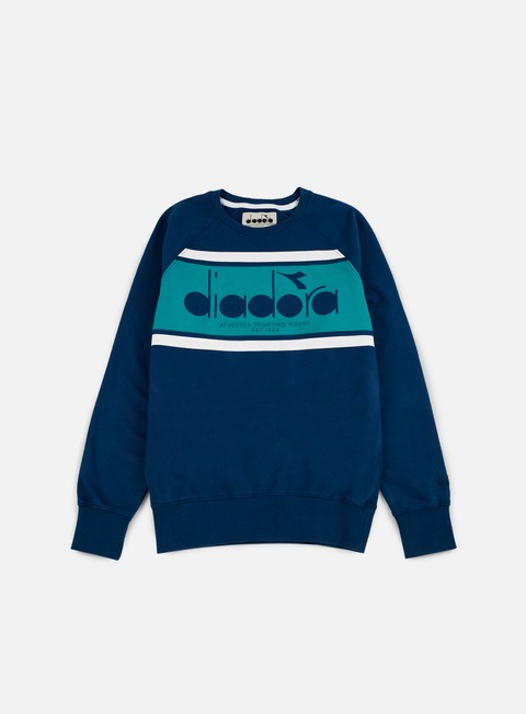 felpe diadora bl sweatshirt estate blue porcelain green