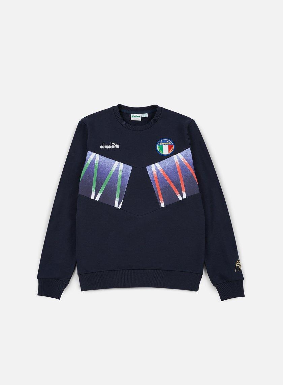 Diadora - Roberto Baggio Signature Crewneck Sweatshirt, Blue Corsair