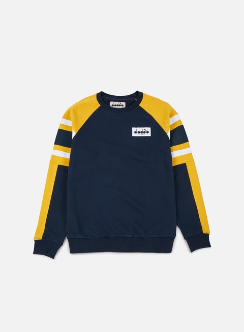 felpe diadora seoul 88 sweatshirt blue denim yellow old gold