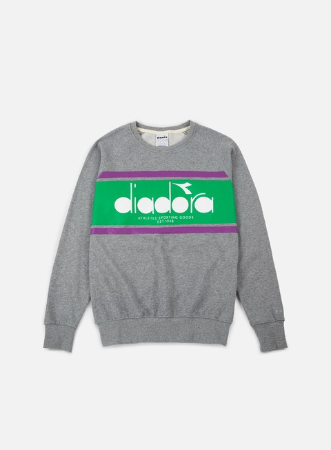felpe diadora spectra crewneck light grey melange light emerald green