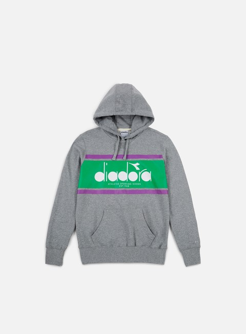 felpe diadora spectra hoodie light grey melange light emerald green