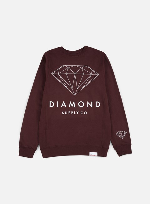 felpe diamond supply brilliant crewneck burgundy