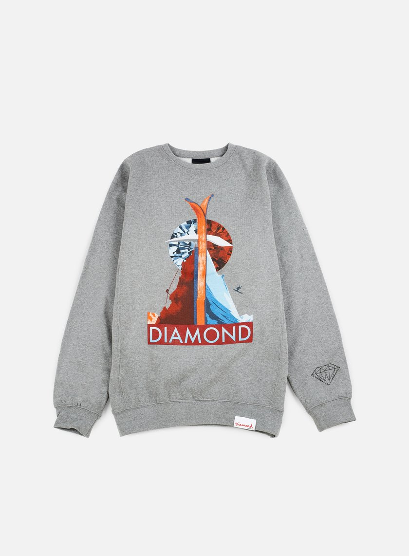Diamond Supply - Diamond Peak Crewneck, Gunmetal Heather