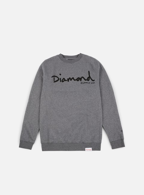 felpe diamond supply og script core crewneck gunmetal heather grey