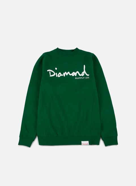 felpe diamond supply og script crewneck forest green