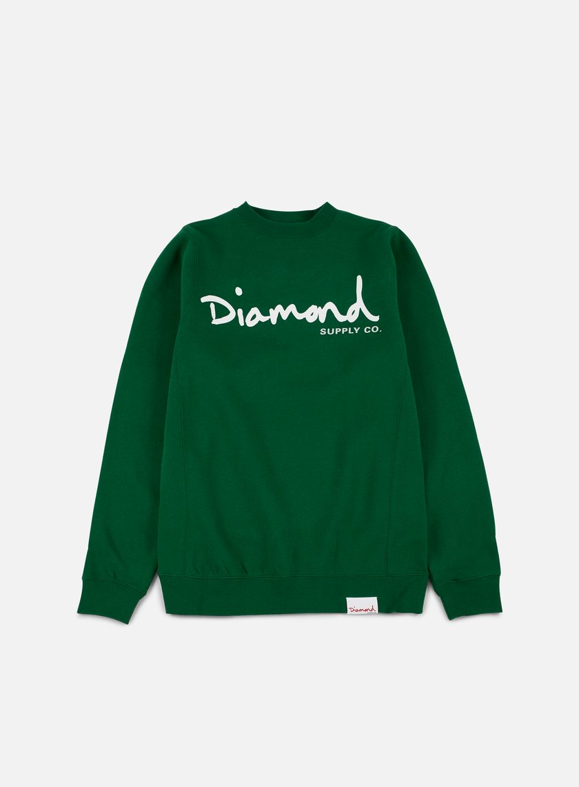 Diamond Supply - OG Script Crewneck, Forest Green