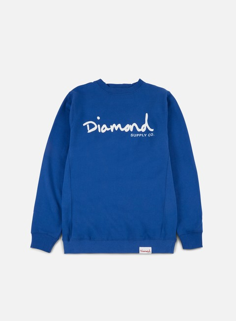 felpe diamond supply og script crewneck royal