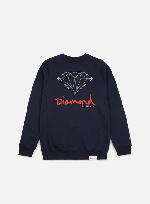 felpe diamond supply og sign core crewneck navy