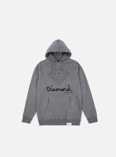 felpe diamond supply og sign core hoodie gunmetal heather grey