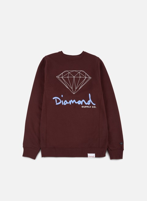 felpe diamond supply og sign crewneck burgundy